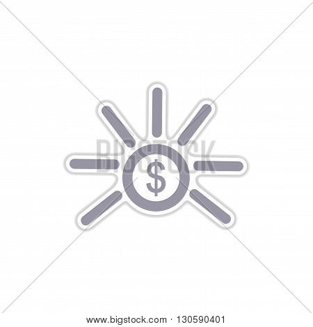stylish paper sticker on white  background coin