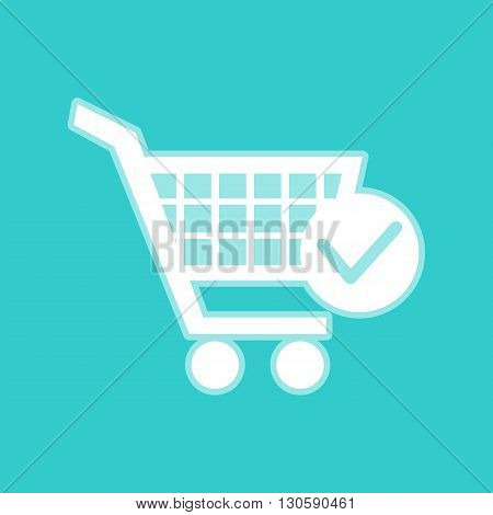 Shopping Cart and Check Mark Icon. White icon with whitish background on torquoise flat color.