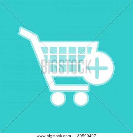 Shopping Cart and add Mark Icon. White icon with whitish background on torquoise flat color.