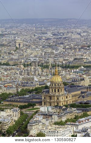 Paris, France - May 14: This is view of Paris towards the Les Invalides with the height of the Montparnasse Tower May 14, 2013 in Paris, France.