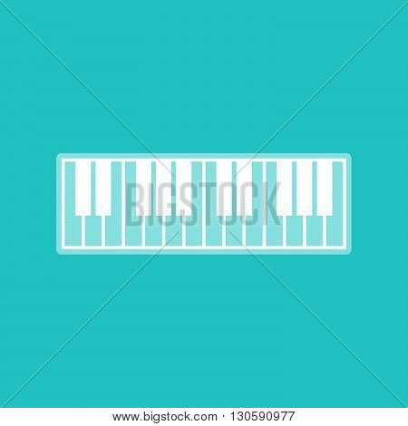 Piano Keyboard sign. White icon with whitish background on torquoise flat color.