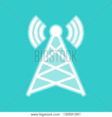 Antenna sign. White icon with whitish background on torquoise flat color.
