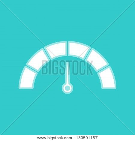 Speedometer sign. White icon with whitish background on torquoise flat color.