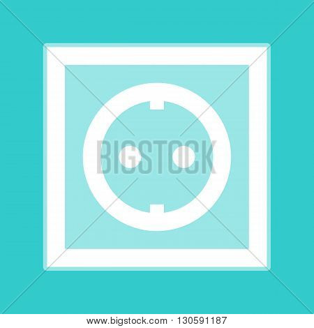 Electrical socket sign. White icon with whitish background on torquoise flat color.