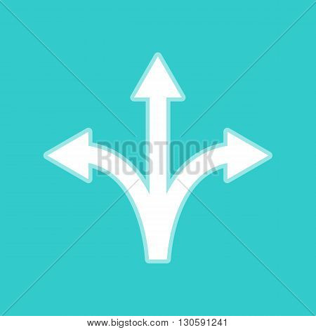 Three-way direction arrow sign. White icon with whitish background on torquoise flat color.