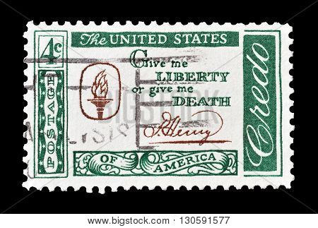 USA - CIRCA 1960 : Cancelled postage stamp printed by USA, that shows Patrick Henry Quotation.