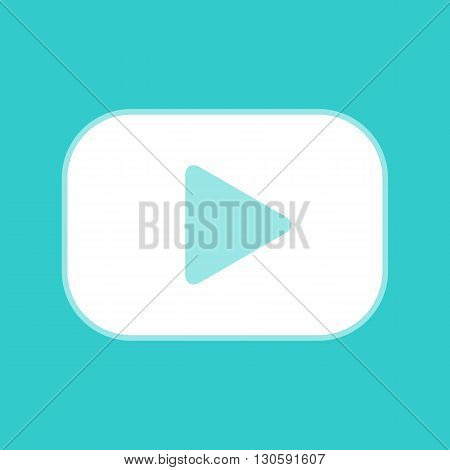 Play sign. White icon with whitish background on torquoise flat color.