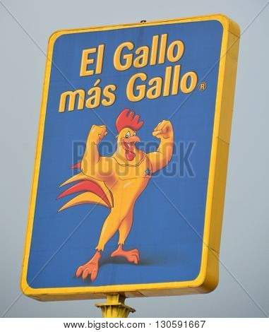 GUATEMALA CITY GUATEMALA APRIL 29 2016: El gallo mas gallo electronic sign, is a Guatemalan chain of electronics stores