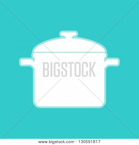 Cooking pan sign. White icon with whitish background on torquoise flat color.
