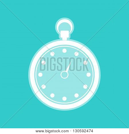 Stopwatch sign. White icon with whitish background on torquoise flat color.
