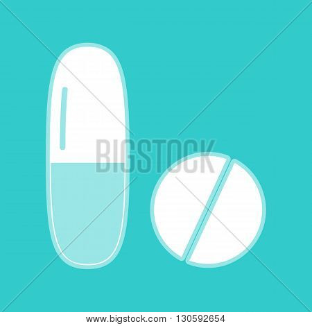 Medical pills sign. White icon with whitish background on torquoise flat color.