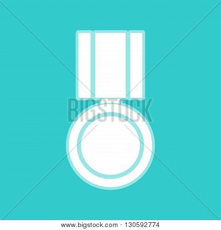 Medal sign. White icon with whitish background on torquoise flat color.