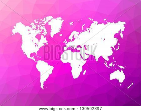 Map of World on low poly background. World map on background made of triangles. White vector illustration on violet polygonal shape background.