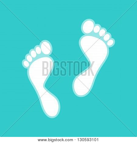 Foot prints sign. White icon with whitish background on torquoise flat color.