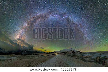 Milky Way arc over Mount Elbrus