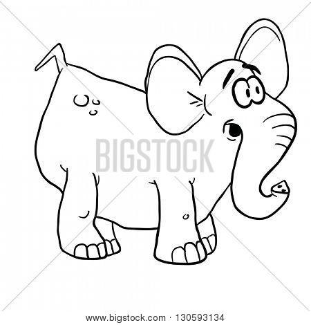 black and white elephant cartoon