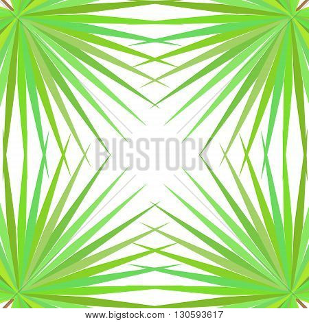 Symmetrical pattern with palm leaves on white background. Vector illustration.