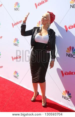 LAS VEGAS - APR 21:  Christina Aguilera at the The Voice Red Carpet Event at the Hyde on April 21, 2016 in Los Angeles, CA