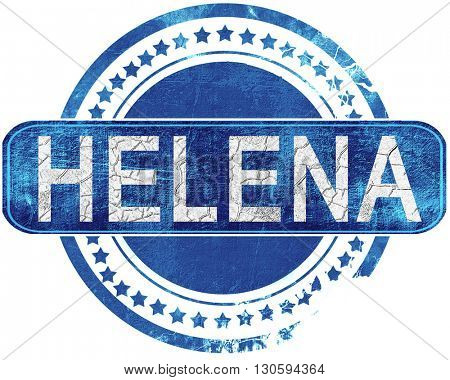helena grunge blue stamp. Isolated on white.