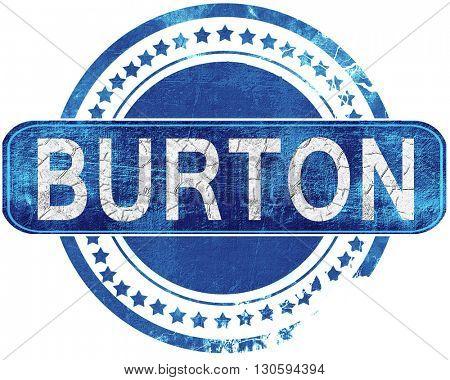burton grunge blue stamp. Isolated on white.
