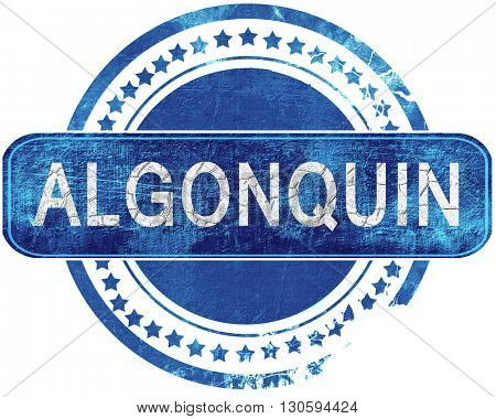algonquin grunge blue stamp. Isolated on white.