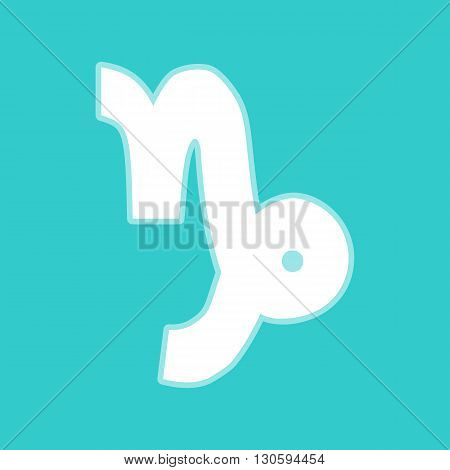 Capricorn sign. White icon with whitish background on torquoise flat color.