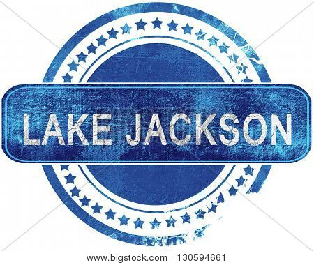 lake jackson grunge blue stamp. Isolated on white.