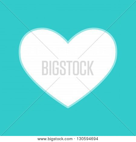 Heart sign. White icon with whitish background on torquoise flat color.