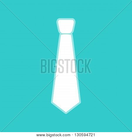 Tie sign. White icon with whitish background on torquoise flat color.