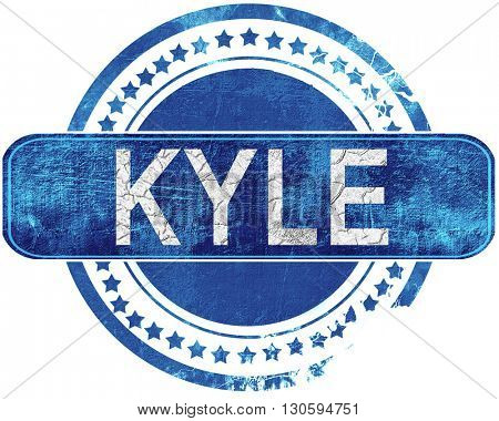 kyle grunge blue stamp. Isolated on white.