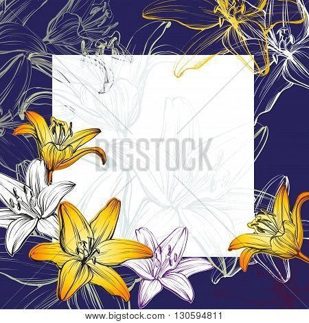 abstract greeting card  floral blooming lilies background hand drawn vector  illustration   sketch