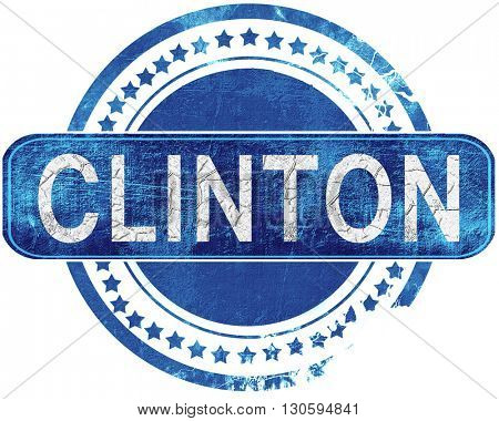 clinton grunge blue stamp. Isolated on white.