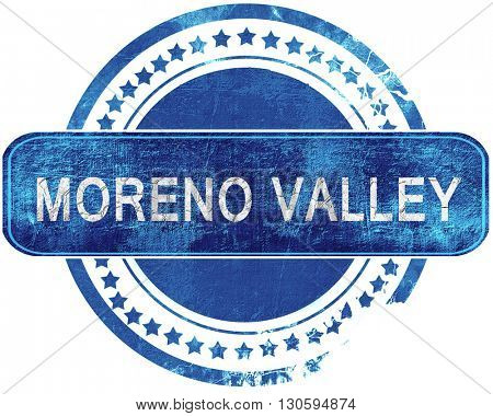 moreno valley grunge blue stamp. Isolated on white.