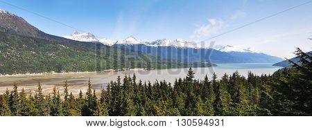 Panoramic view of Nahku Bay, Skagway, Alaska, USA.