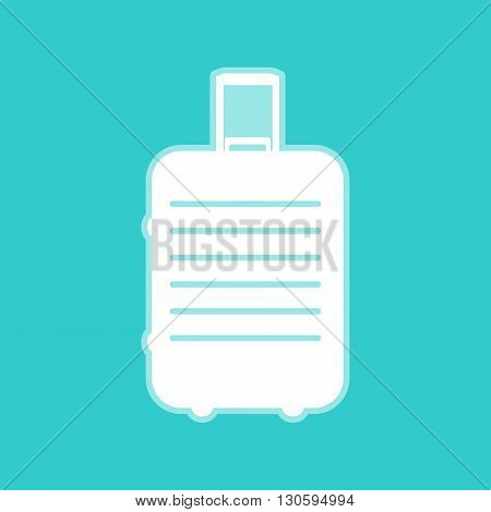Baggage sign. White icon with whitish background on torquoise flat color.