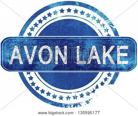 avon lake grunge blue stamp. Isolated on white.
