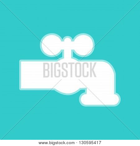 Water faucet sign. White icon with whitish background on torquoise flat color.