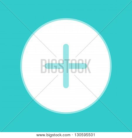 Positive symbol plus sign. White icon with whitish background on torquoise flat color.