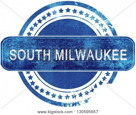 south milwaukee grunge blue stamp. Isolated on white.