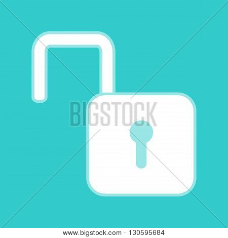 Unlock sign. White icon with whitish background on torquoise flat color.