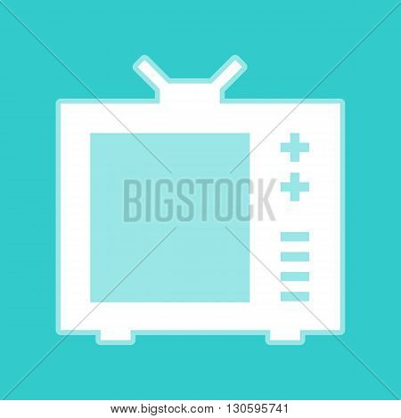 TV sign. White icon with whitish background on torquoise flat color.