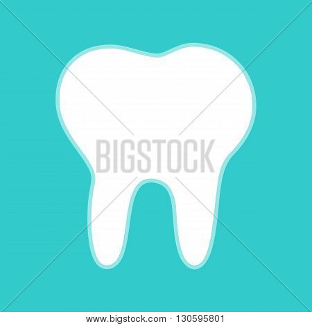 Tooth sign. White icon with whitish background on torquoise flat color.