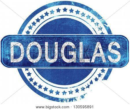 douglas grunge blue stamp. Isolated on white.