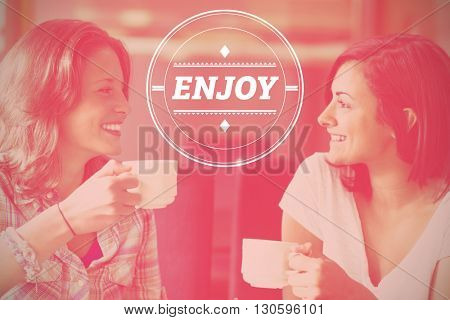 dream big against two smiling students having a cup of coffee