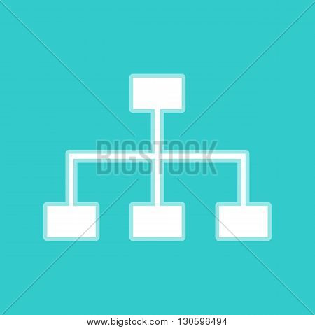 Site map sign. White icon with whitish background on torquoise flat color.