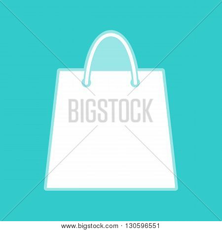Shopping bag. White icon with whitish background on torquoise flat color.