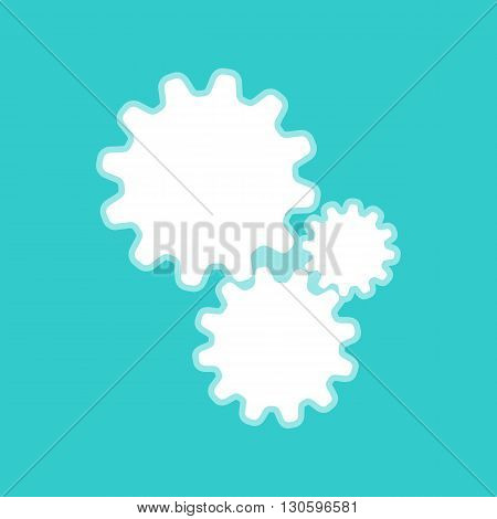 Settings sign. White icon with whitish background on torquoise flat color.