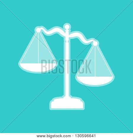 Scales of Justice sign. White icon with whitish background on torquoise flat color.