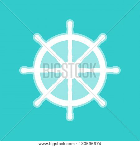 Ship wheel sign. White icon with whitish background on torquoise flat color.