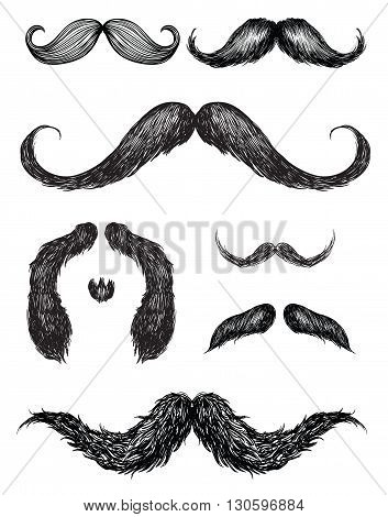 Hand drawn mustache set Illustration Vector Elements